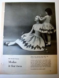 1956 McCall's Patterns MOTHER DAUGHTER Matching Dress Little Girl vtg FASHION Ad