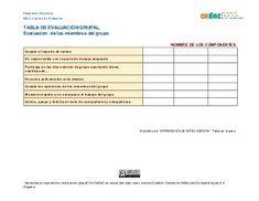 Tabla evaluación grupal