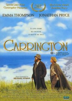 The story of the relationship between painter Dora Carrington and author Lytton Strachey in a World War One England of cottages and countryside, Carrington ~ 1995