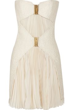 Definitely need to pack this in the suitcase - Bouclé and pleated chiffon mini dress by Balmain