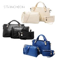 Women Messenger Bags 3 PCS/Set Luxury Leather Handbags Crocodile Pattern Women Shoulder Bag + Purse Wallet