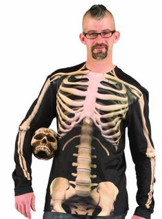 Faux Real Skeleton Halloween Costume Long Sleeve T-Shirt X-Large