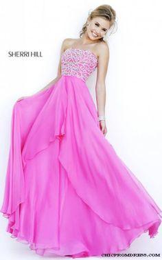 2015 Fuchsia Sherri Hill 8554 Strapless Evening Dress