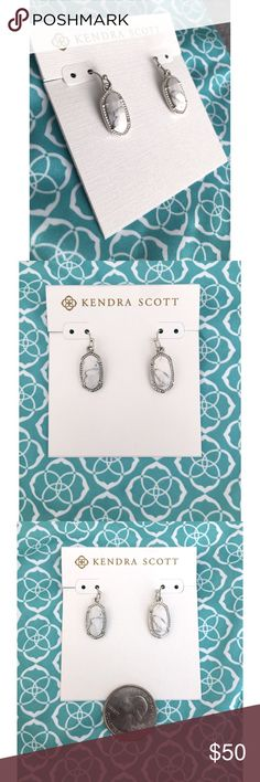 NWT Kendra Scott Lee Earring White Howlite Pretty grey and white veined stones with rhodium silver colored hardware in the smallest version of the classic shape add the perfect finishing touch to your outfit! Wear these small faceted stones to catch the light and sparkle through your day! Perfect condition, never worn! Kendra Scott Jewelry Earrings