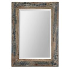 Global Direct 38 in. x 28 in. Aged Blue Framed Mirror-13829 - The Home Depot