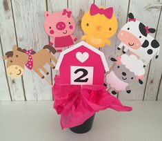 6 Piece Pink Farm Barnyard Centerpiece, Farm Cake Topper, Animal Birthday Decoration, Animal Birthday Party Decor, Animals, Girl Birthday by LuluBellaCreations on Etsy