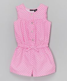 Look at this #zulilyfind! Pink Floral Bow Romper - Infant & Girls by Calvin Klein Jeans #zulilyfinds