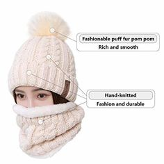 Beanie Hat Scarf Set Winter Ski Hat Slouchy Knit Skull Cap with Fleece Lined   fashion 7f2d76e3d8f4