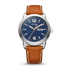 Fossil Swiss FS-5 Series Quartz Three-Hand Date Leather Watch - Brown, FSW4005  FOSSIL® Watches