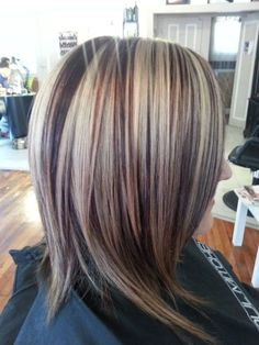 dark hair with red low lights and blonde high lights | Highlights and lowlights | Hair Ideas