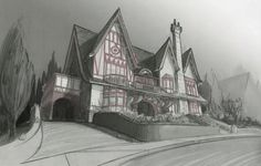 Pencil Concept Sketch ROR House - Monsters University (2013) // Nelson Bohol