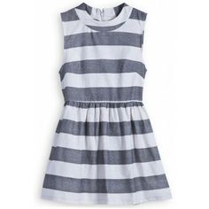 Grey White Striped Sleeveless Pleated Dress