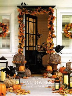 Great front porch for Thanksgiving or Halloween...just take away the crows for Thanksgiving