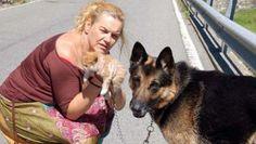 Teneri cuccioli Notizie: Cane eroe salva gatto gettato in un burrone