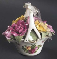 Musical Victorian Basket in the Old Country Roses pattern by Royal Albert China