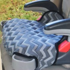 The newest booster seat cover in a great two tone grey chevron. This one is for the Graco Turbo model but can make for Graco Affix And Evenflo big kid