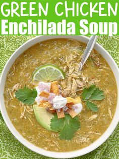 Fast and easy, tasty and healthy. This Green Chicken Enchilada Soup uses rotisserie chicken and packs a little heat from green chiles and salsa. Get this recipe here! | Foodtastic Mom #souprecipes #chickensouprecipes #greenchickenenchiladasoup Quick Chicken Recipes, Easy Soup Recipes, Quick Dinner Recipes, Green Chicken Enchiladas, Chicken Enchilada Soup, Green Chile Enchilada Sauce, Best Mexican Recipes, Soups, Stuffed Peppers