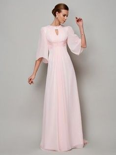 c6a940d714a A-Line Princess High Neck 1 2 Sleeves Beading Sweep Brush Train Chiffon  Dresses. Pink Chiffon DressMother ...