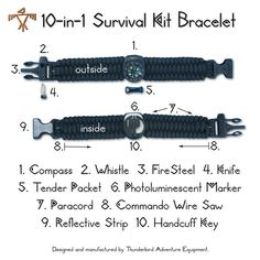 My husbands dream come true! 10in1 Survival Kit Bracelet Compass Whistle FireSteel by Utilitary. , via Etsy.