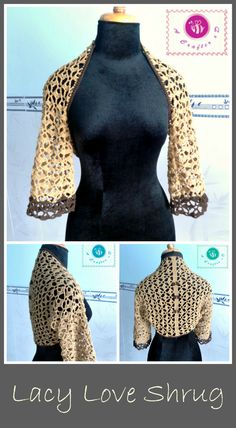 Crochet lacy love shrug - Maz Kwok's Designs
