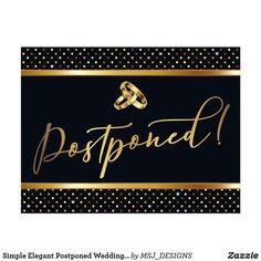 Shop Simple Elegant Postponed Wedding Announcement Postcard created by MSJ_DESIGNS. Wedding Announcements, Postcard Size, Simple Designs, Keep It Cleaner, Holiday Cards, Create Your Own, Elegant, Wedding Planning, Paper