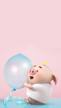 Pig Wallpaper, Baby Pigs, Cute Pigs, Little Pigs, The Balloon, Cute Wallpapers, Hello Kitty, Balloons, Funny