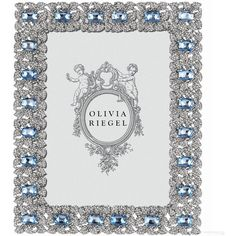 silver genevieve austrian crystal sapphire 5x7 frame by olivia riegel liked on polyvore featuring home