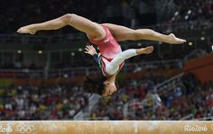 Laurie Hernandez (USA) competes during the women's team finals in the Rio 2016 Summer Olympic Games at Rio Olympic Arena.