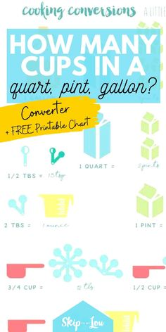 """This printablemeasurementconversion chart will keep you from asking, """"how many cups in a quart, pint or gallon?"""" #cooking #hacks Measurement Conversion Chart, Cooking Hacks, Top Recipes, Free Printables, Conversation, Cups, Household Tips, Food, Mugs"""