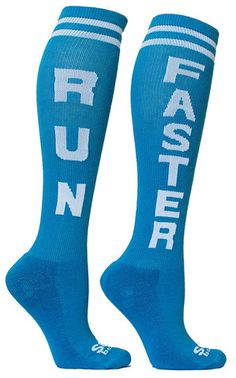 RUN FASTER Knee High Socks: Tall socks are popular in Crossfit and powerlifting, but any runner would also love these babies!