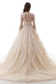 Luxurious Princess V-Neck Natural Court Train Lace and Tulle Champagne Long Sleeve Zipper With Buttons Wedding Dress with Appliques #LD4622 #cocomelody #weddingdress