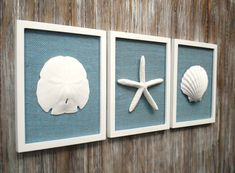This set of three coastal cottage chic frames is a larger version than my standard pure white coastal sets.These three larger frames measure