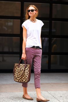Love all of this...easy tee, printed pants, sparkly jewels. #minna may