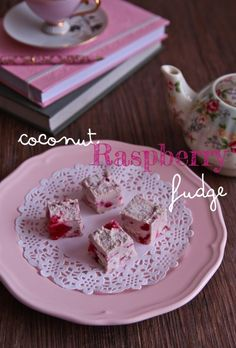 Coconut Raspberry Fudge. Going to try this with coconut cream. Grain, dairy, & refined sugar free.
