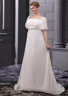 Cheap+Plus+Size+Wedding+Dresses   cheap a line square neckline short sleeves chiffon plus size wedding ...