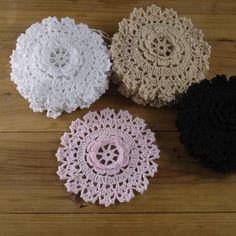 Crocheted Doilies Rose 3D applique Round Coasters 4.8''/12cm Mat Pad 20PCS #Handmade Crochet Doilies, Hand Crochet, 3d Rose, Pad, Applique, Decoration, Coasters, Crochet Earrings, Tablecloths