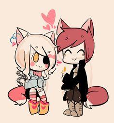 Resultado de imagen para foxy y mangle chibi anime
