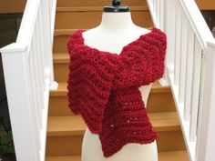 Ripple Scarf, simple 8 row pattern repeat. (Optional extra rosette blossom).  Crochet pattern to buy on Etsy