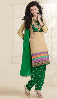 G3 Fashions Fawn green cotton designer patiala Salwar Suit  Product Code : G3-LSA106770 Price : INR RS 2278