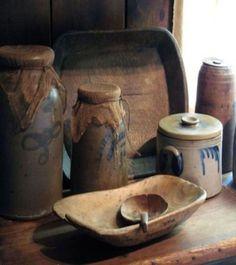 beth's country primitive home decor Antique Crocks, Old Crocks, Antique Stoneware, Stoneware Crocks, Antique Decor, Primitive Homes, Primitive Kitchen, Primitive Antiques, Primitives
