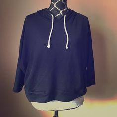 Black Oversized Dolman Sleeve Hoodie 3/4 length sleeves. In great condition! Mossimo Supply Co Tops Sweatshirts & Hoodies
