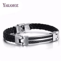 YAMAKOZ Classical Black Charm Leather Bracelets For Men Fashion Titanium Stainless Steel Men Jewelry For Father's Gift Wholesale