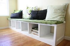diy storage bench for a breakfast nook. I'd prefer natural wood with thicker cushions.
