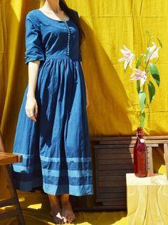 Blue Cotton Gathered Long Kurti