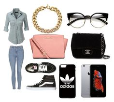 """""""Untitled #89"""" by lychavarria on Polyvore featuring LE3NO, Topshop, Vans, Michael Kors, Chanel, adidas and MICHAEL Michael Kors"""