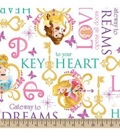 Disney Princess Key To Your Heart Fleece Fabric