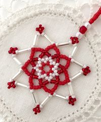 Create a variety of beaded snowflakes and stars which make fun ornaments, earrings or pendants. Learn a netting in the round technique using seed and bugle beads with crystal accents. Beading Projects, Beading Tutorials, Wire Crafts, Bead Crafts, Beaded Christmas Ornaments, Christmas Crafts, Snow Flakes, Beaded Bags, Bead Crochet