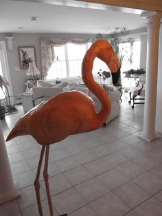 Realistic life-sized paper mache animals by Linda York Robbins.  Papier mâché flamingo!