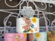 Pearl White Shabby Chic Retro Bunny & Lamb Small EASTER BASKET Decor Decorations Handpainted Decoupage Tin Can Gift by Sweet Vintage Designs by SweetVintageDesignCo on Etsy
