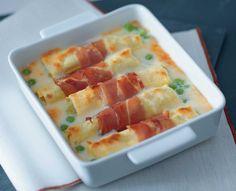 Cannelloni con purè di piselli e speck